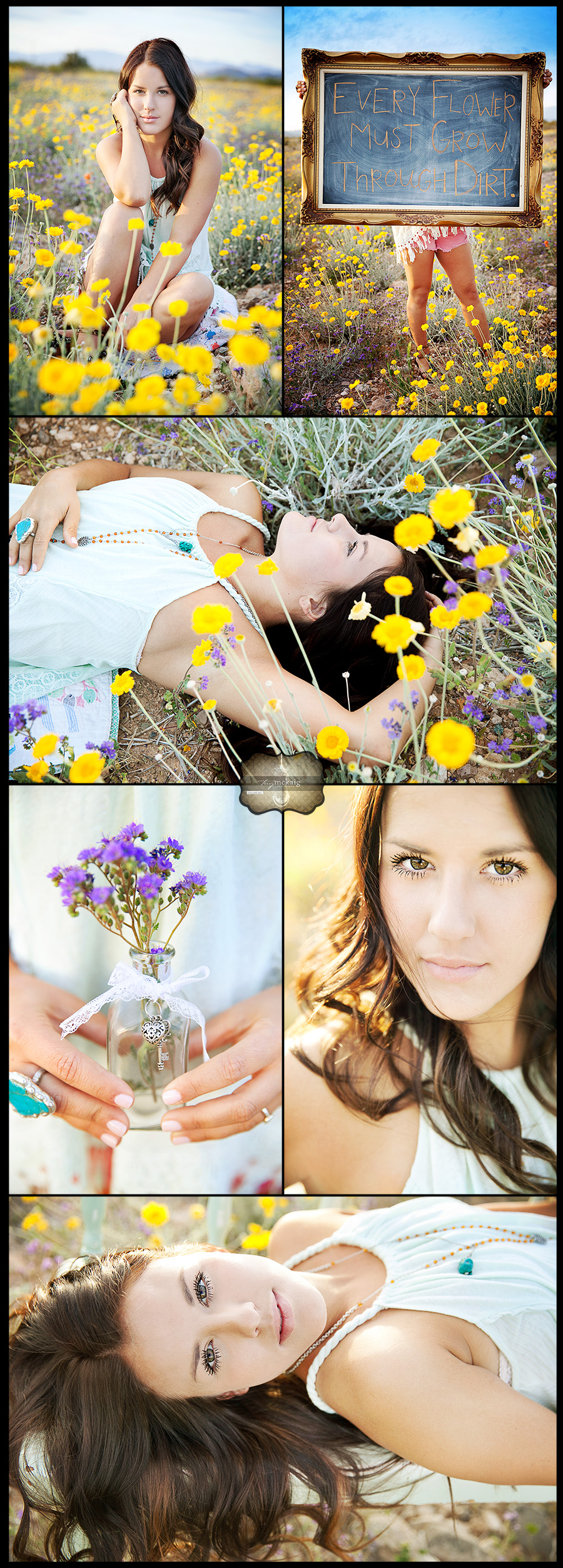 Senior photos in flower field phoenix senior photographer