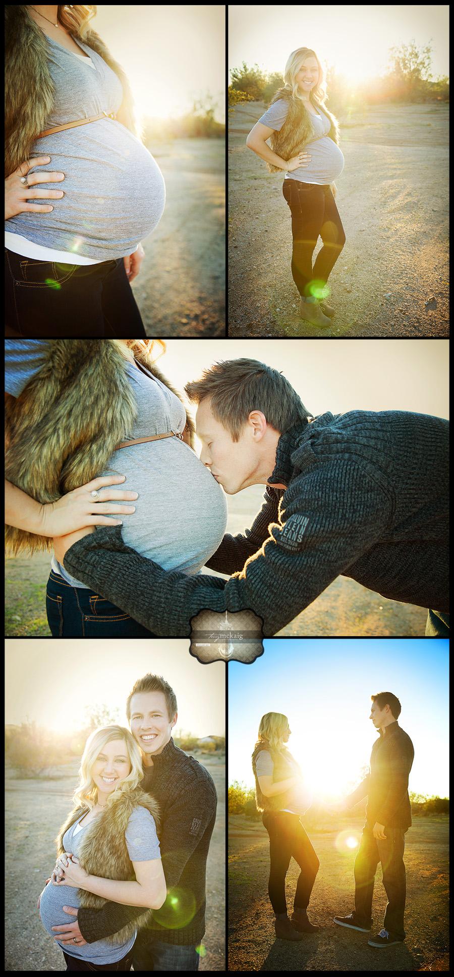 Fun in the desert maternity photos