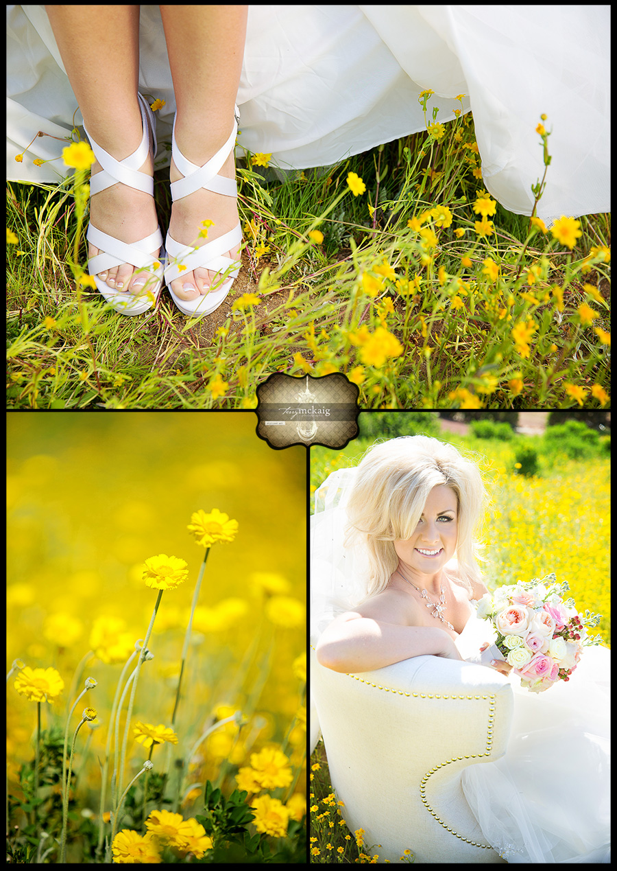 Country wedding wild flowers with bride phoenix wedding photographer Terry McKaig